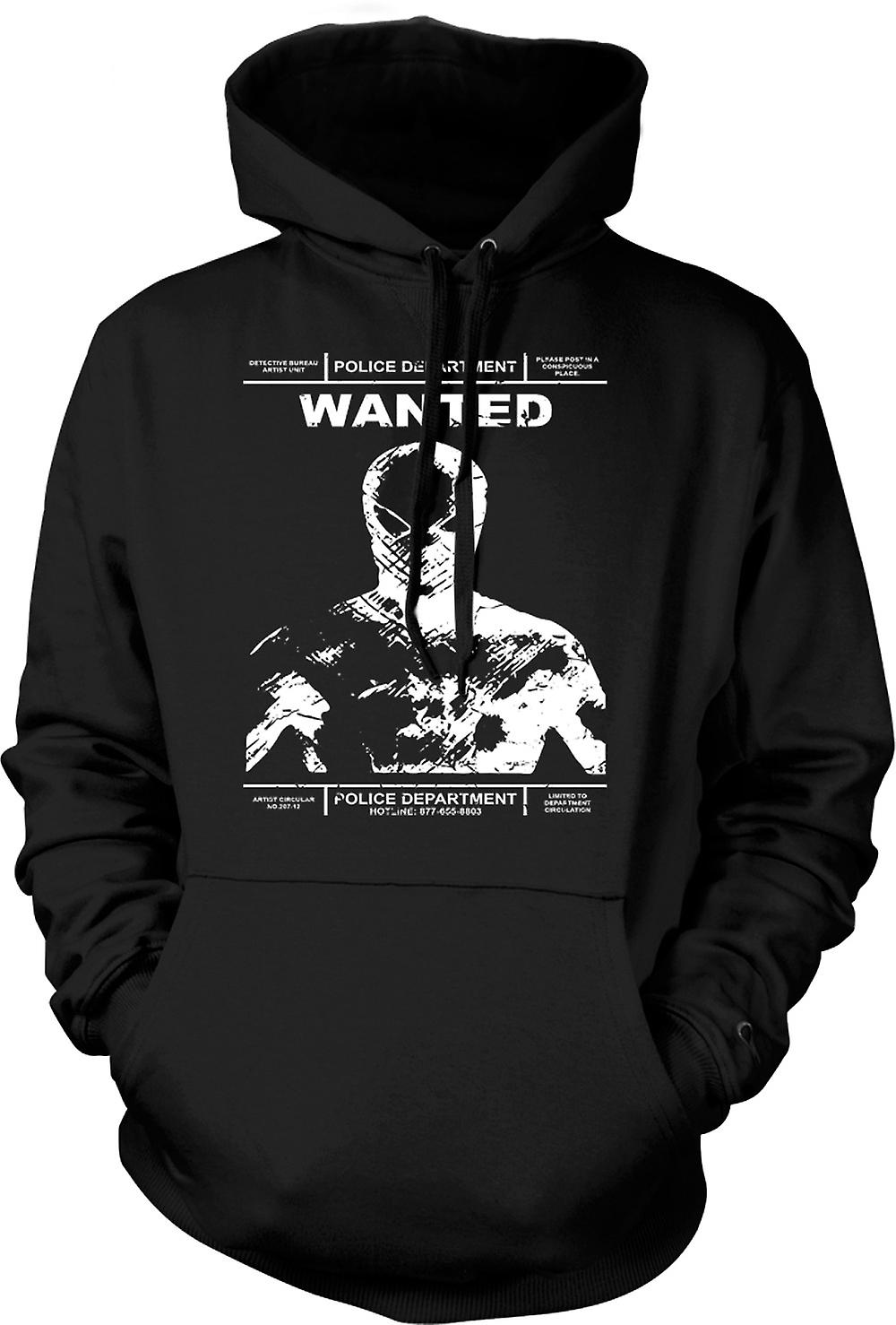 Mens Hoodie - Spiderman polizia Wanted Poster