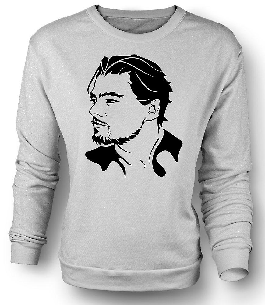 Mens Sweatshirt Leonardo Dicaprio porträtt