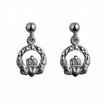 Silver 9mm diamond cut Claddagh Dropper Earrings