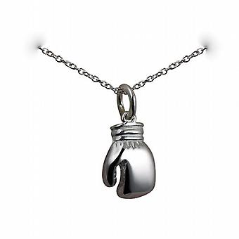 Silver 14x11mm Boxing Glove Pendant with a rolo Chain 24 inches