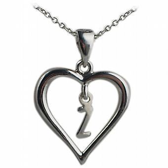 Zilveren 18x18mm eerste Z in een hart hanger met een rolo ketting 20 inch