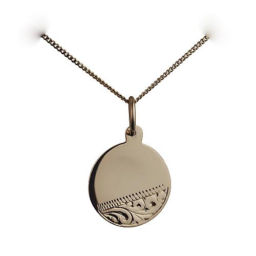9ct Gold 13mm hand engraved round Disc with a curb Chain 16 inches Only Suitable for Children