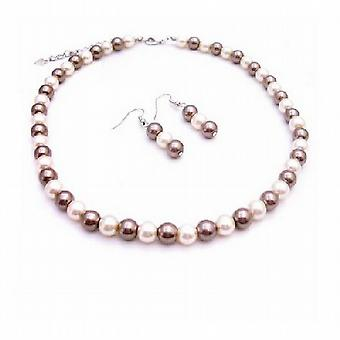 Collection For All Fashion Jewelry Bronze Ivory Pearls Necklace Set