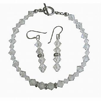 Brude Irridscent Clear Swarovski krystall armbånd & øredobber sett med ekte Swarovski fjerner Crystal & sølv Rondells