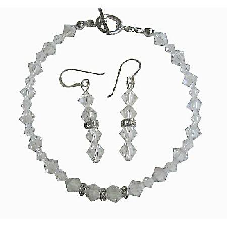 Bridal Irridscent Clear Swarovski Crystal Bracelet & Earrings Set w/ Genuine Swarovski  Clear Crystal & Silver Rondells