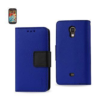 Reiko - 3-i-1 Wallet Case för Samsung Galaxy ljus T399 - Navy