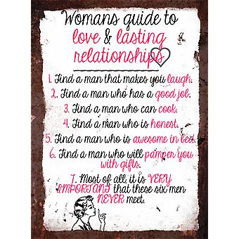 Vintage Metal Wall Sign - Woman's Guide 02
