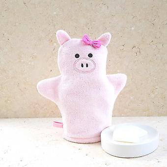 Piggy bath mitt