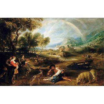 Landscape with a Rainbow,Peter Paul Rubens,60x40cm