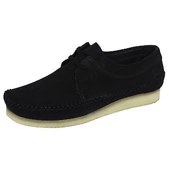 Sapatos de camurça preta de Clarks originais tecelão masculino
