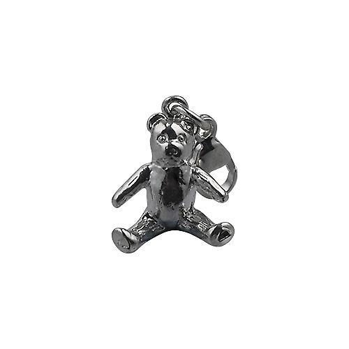 Silver 15x12mm sitting Teddy Bear Charm on a lobster trigger