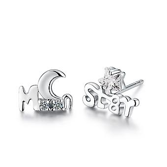 925 Sterling Silver Moon And Star Design Stud Earrings