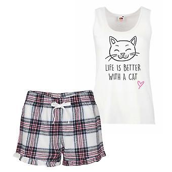 Cat Life Is Better With A Cat Pink Tartan Pyjamas
