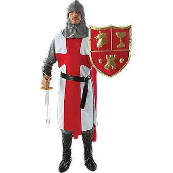 Mens Medieval English Knight Crusader in Armour Fancy Dress Costume