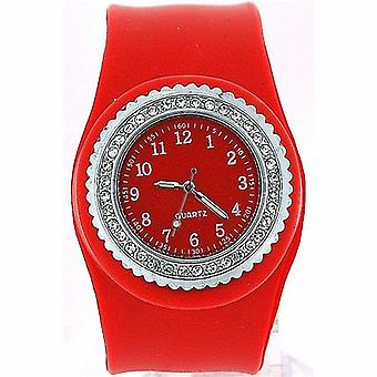 SS Slap On CZ Red Dial Ladies Watch SW050