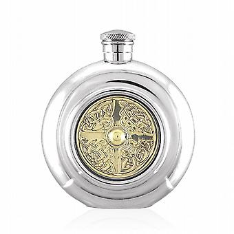 Celtic Design Round Pewter Hip Flask - 6oz