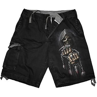 Spiral Direct Gothic GAME OVER SHORTS - Vintage Cargo Shorts Black|Reaper|Skulls|Death|Tribal