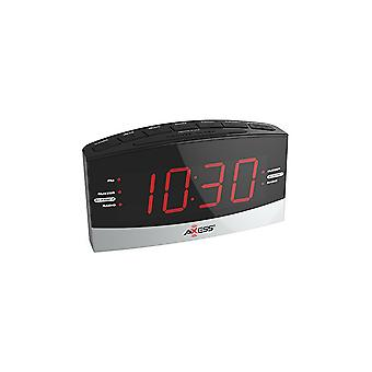 "Axess Dual Alarm-Clock with AM/FM Digital Radio and 1.8"" Red LED Display"