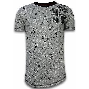 Longfit Asymmetric Embroidery-T-Shirt Patches-Guerrilla-Grey