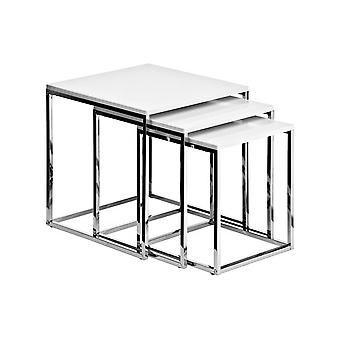 Fusion Living White And Chrome Nest Of Tables
