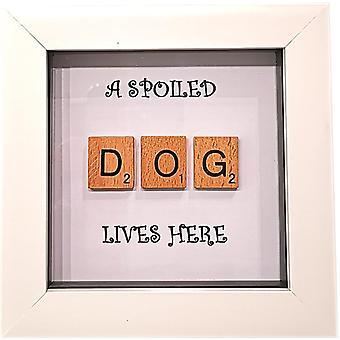 Wee Bee Handmade Spoiled Dog in White Frame