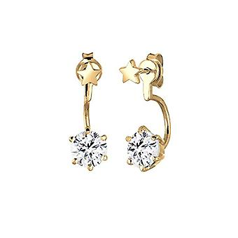 Elli - women's earrings - closure front and back - pattern: stars - silver 925 partially gold-plated - bright cut white crystal - 0305230415