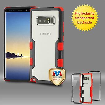 MYBAT Natural Black Frame+Transparent PC Back/Red TUFF Vivid Hybrid Protector Cover  for Galaxy Note 8