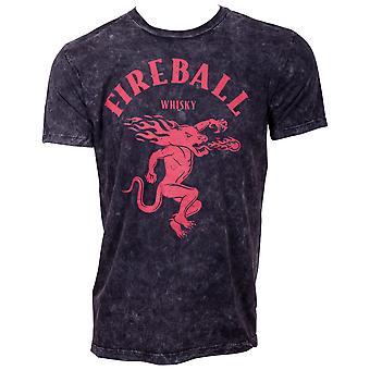 Fireball Whiskey Men's Black Wash T-Shirt
