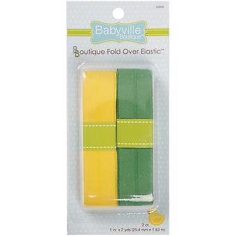 Babyville Boutique Fold Over Elastic Solid Yellow & Solid Green 3.50E 44