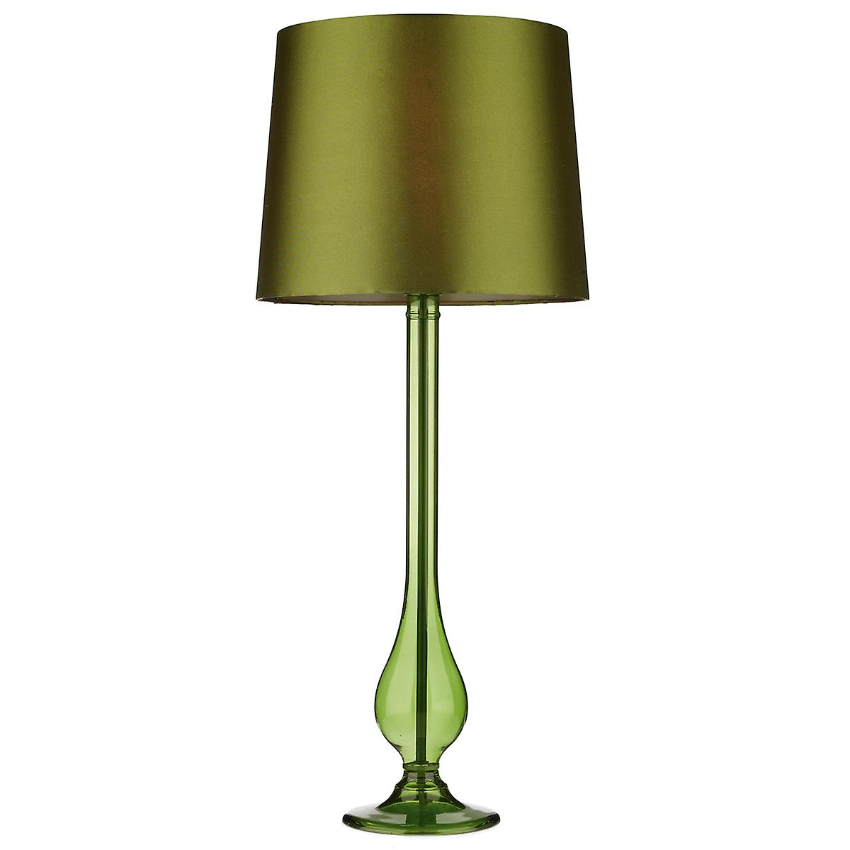 Dar DIL4074 Dillon Green Transparent Glass Table Lamp With Green Shade