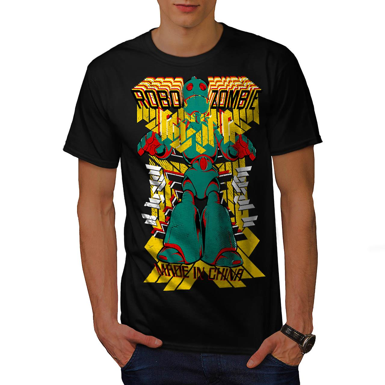 Robot Fashion Cool Zombie Men Black T-shirt | Wellcoda