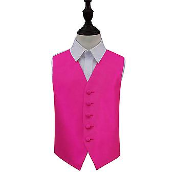 Boy's Fuchsia Pink Solid Check Wedding Waistcoat
