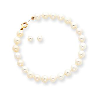 14k Yellow Gold Screw back Spring Ring for boys or girls Freshwater Cultured Pearl Set - Bracelet and Post Earrings
