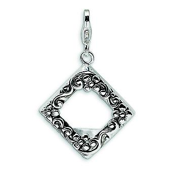 Sterling Silver 2-D Antiqued Photo With Lobster Clasp Charm - 2.9 Grams - Measures 35x22mm