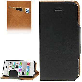 Mobile phone cover (flip cross) for mobile phone Apple iPhone 5 C Black with credit card compartment