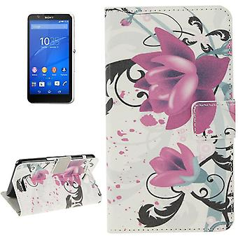Mobile case bag for mobile phone Sony Xperia E4 flower purple / violet