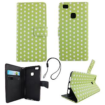Cell phone cover case for mobile Huawei P9 Lite polka dot green white