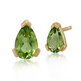 Gemondo 9ct Yellow Gold 0.72ct Peridot Single Stone Pear Stud Earrings