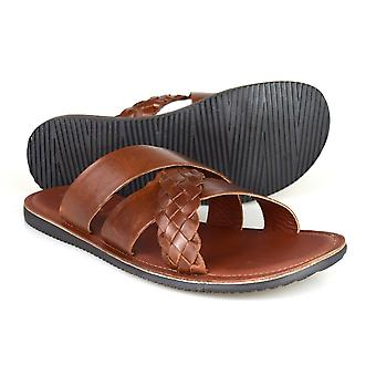 Red Tape Spa Tan Brown Leather Casual Sandals