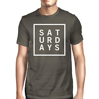 Saturdays Mens Cool Grey Tees Cute Short Sleeve Tee Funny Shirt