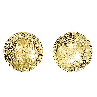 14k Yellow Gold Satin With Diamond Cut Edges Stud Earrings, 8mm