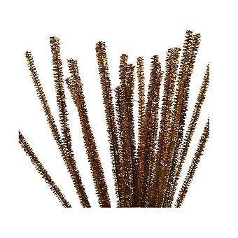 24 Metallic Gold Tinsel Pipe Cleaners for Crafts | Chenille Stems