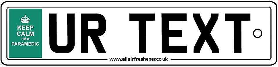 Personalised  Keep Calm Paramedic Numberplate Car Air Freshener