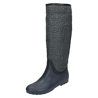 Womens Spot On Crocodile Style Wellington Boots