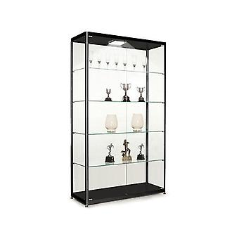 Black Glass Display Cabinet with 1 LED Light - 1000mm