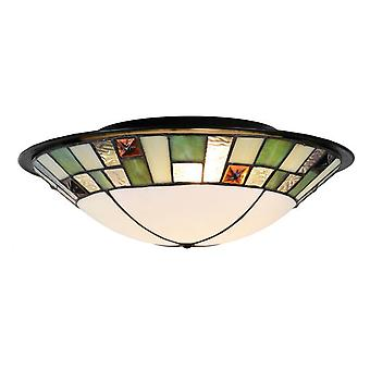 Sulion Plafón Tiffany 2xE27 36Cm Curvo Ambar (Home , Lighting , Hanging lamps)