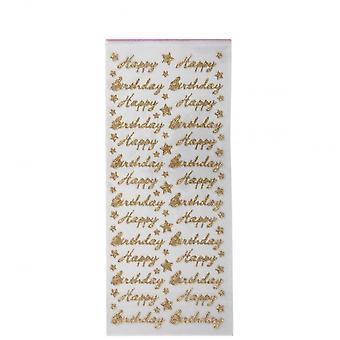 Papermania Glitterations autocollant - joyeux anniversaire - or