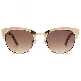 Kurt Geiger Rebecca Metal Preppy Sunglasses In Shiny Gold Tortoise
