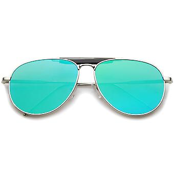 Travesaño grande clásico lágrima refleja gafas de sol de aviador lente plana 56mm