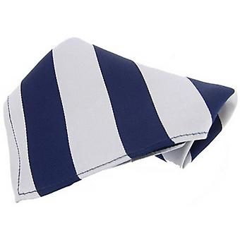 David Van Hagen Bold Striped Silk Handkerchief - Navy/White